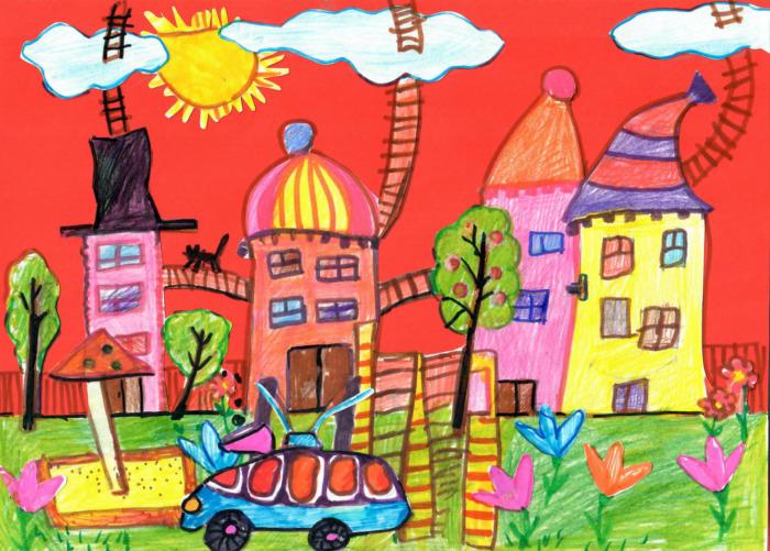 Мой город детские рисунки картинки